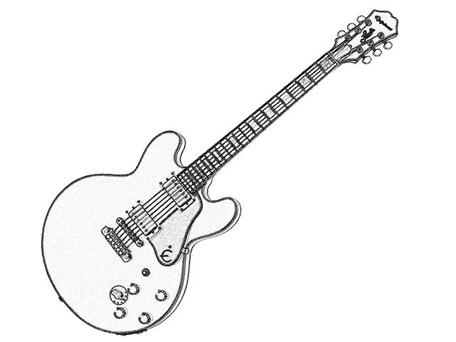 """Strichzeichnung Gitarre """"Lucille"""""""