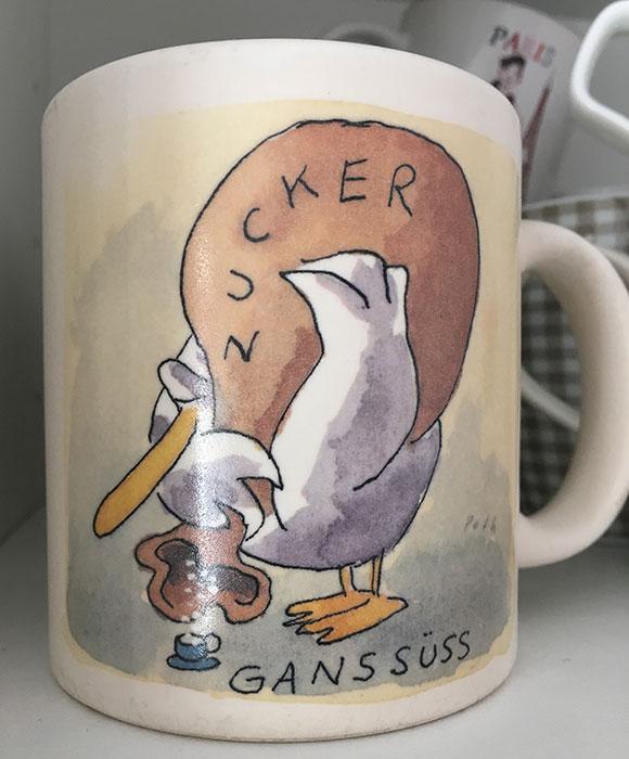 """Kaffeebecher mit Zeichnung """"Gans süß"""""""