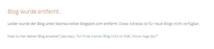 """Meldung """"Blog gelöscht"""""""