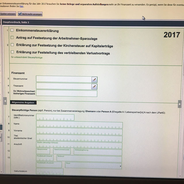 Bildschirm mit Elster-Formular