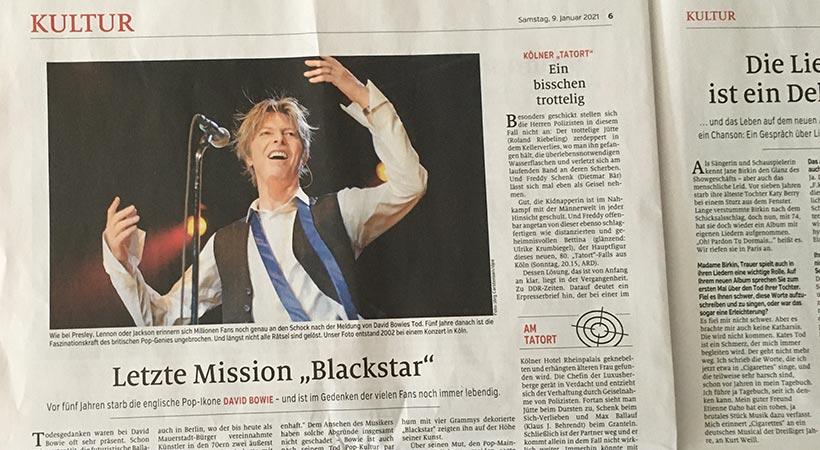 Zeitungsartikel Bowie